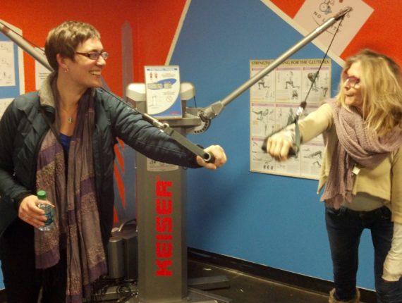 Kaela and Regina using the Keiser Functional Trainer