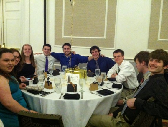 Tyler celebrating the end of his first year at Framingham State University with members of the WDJM Radio, which was recognized with the award for Club of the Year.