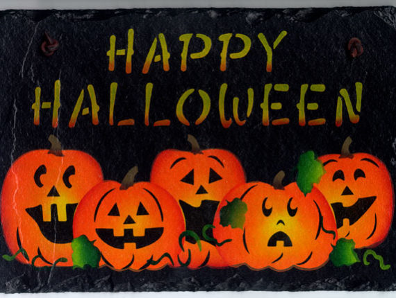 The words Happy Halloween on top and below it is a line of 5 jack-o-lanterns with different facial expressions.