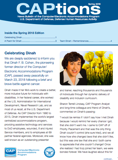 Newsletter remembrance of Dinah Cohen