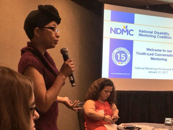 An NDMC presenter leading a discussion on mentoring for youth with disabilities