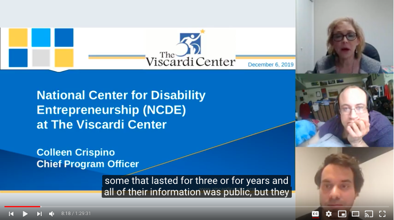 Webinar screen with 3 presenters on right and slide on left.