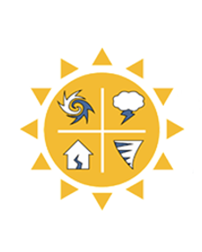 The Partnership logo: a sun with four inset icons within it: a hurricane and thunderstorm cloud, a home with a split down the middle and a tornado. The words