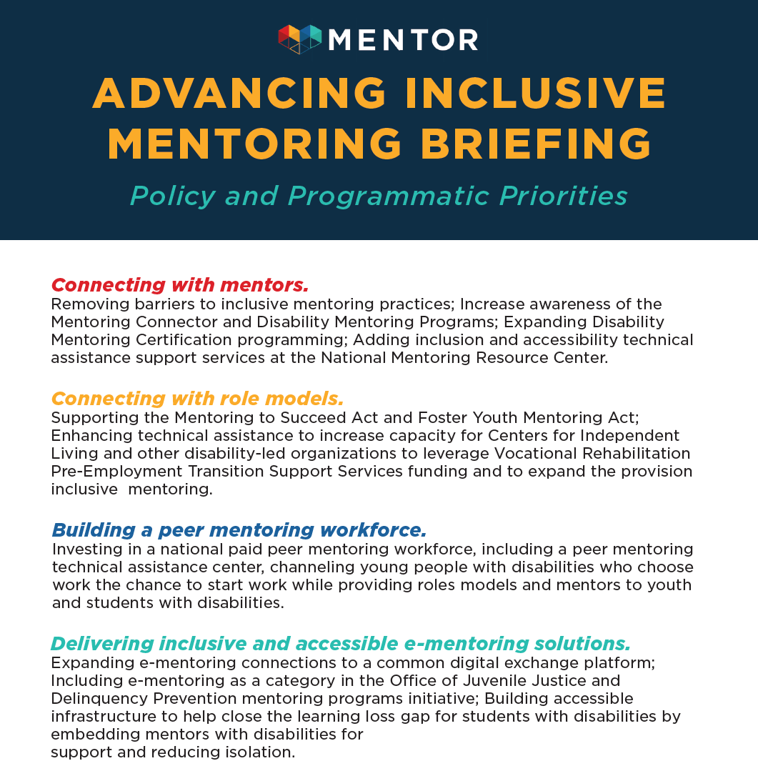 Screenshot of part of the Advanced Inclusive Mentoring Briefing prepared by the NDMC and MENTOR